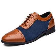 Europe Spring/Autumn 2019 New Men Shoes Pu Leather Brogue Shoes Oxfords Men's Dress Shoes Lace-Up Breathable Plus Size 38-47 jad spo 108 bicycle breathable pu shoes silver size 42