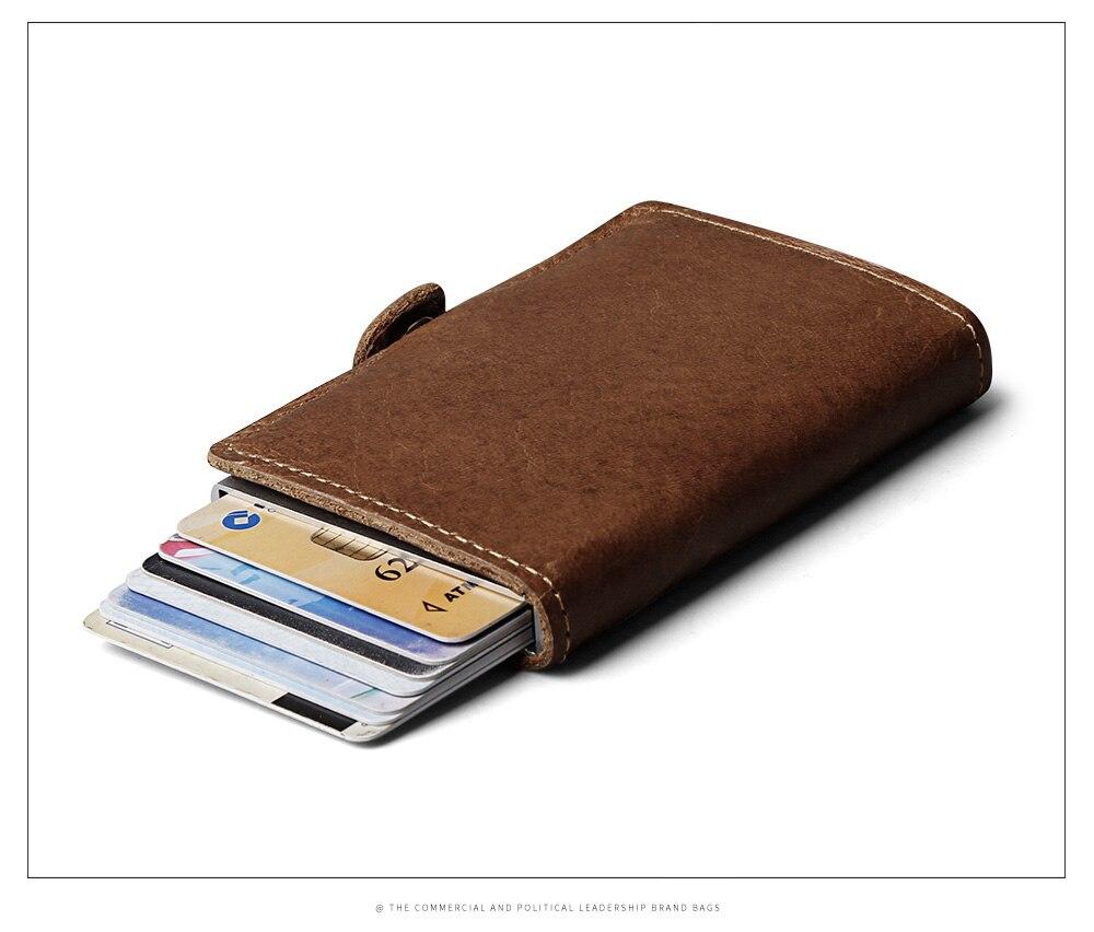 rfid couro genuíno mini carteira seguro multifuncional