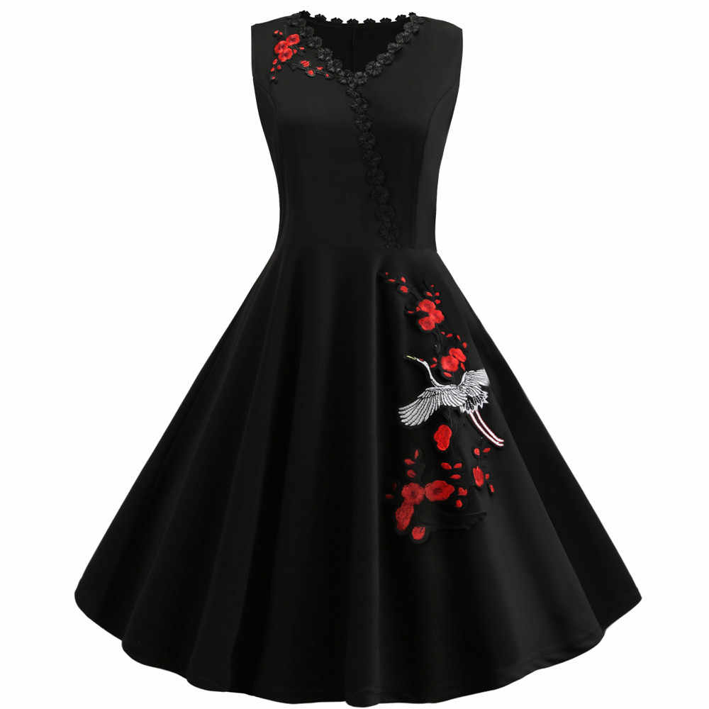 2019 Vintage 50s 60s Rockabilly Swing Party Dress Female Elegant Embroidered Vestidos Plus Size M-4XL Women Retro Dress