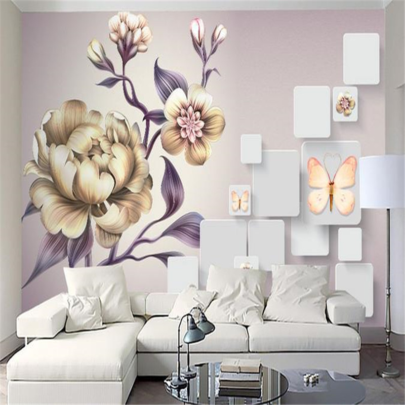 3D Custom Photo Wallpapers Luxury Yellow Flowers Wallpaper European Style Murals Hand-painted Rose Floral Living Room Home Decor royal noble roses simulation flowers european living room large flower rose home decoration flowers