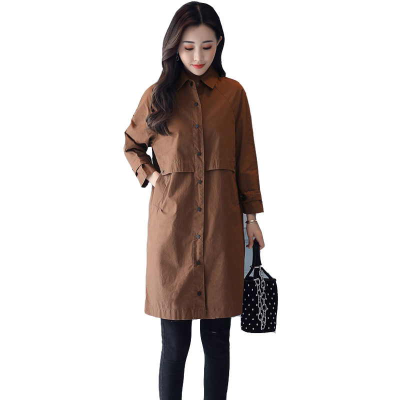 Women's   Trench   Coat Medium Long 2019 New Spring Autumn Slim Fashion Casual Collar Single-Breasted Windbreaker Wild Outerwear