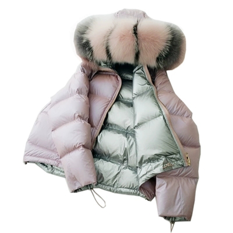 Fashion Double Side Wear   Down   Jackets Big Fox Fur Collar Hooded   Down     Coat   90% White Duck   Down   Parkas Outwears YP2152