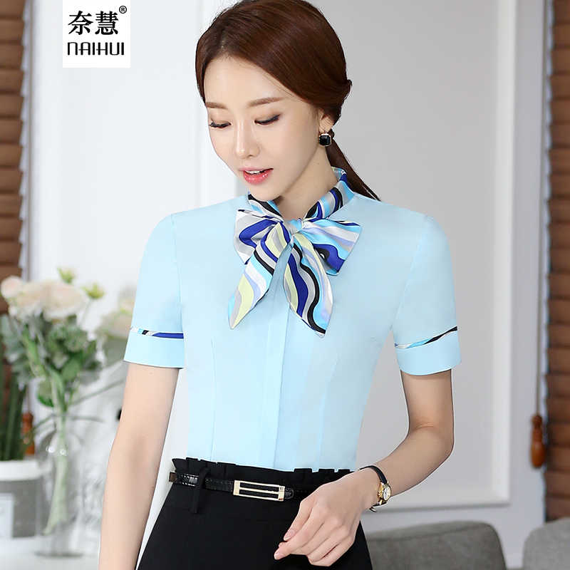 5777181a12b8e6 ... Women Bow Tie Blouse Fashion Spring short Sleeve blusa Tops Chinese  Style Female Office ruffle Shirts ...