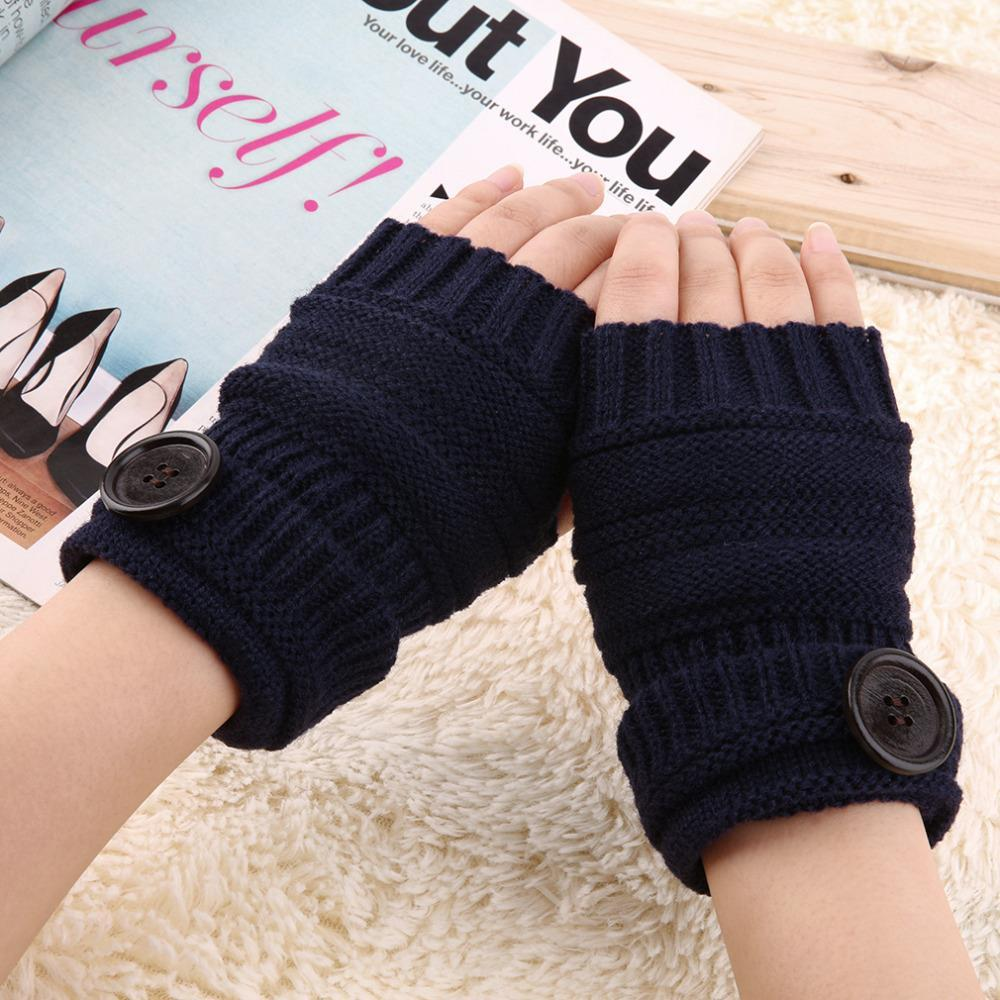Fingerless gloves cotton - New 1 Pair Unisex Winter Warm Thick Fingerless Mittens Ribbed Knitted Button Wrist Wool Gloves Cheap