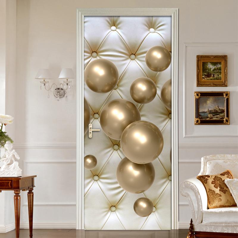 European Style Soft Pack Golden Ball 3D Living Room Bedroom Door Sticker Mural Waterproof Self-adhesive Sticker Wall Wallpaper