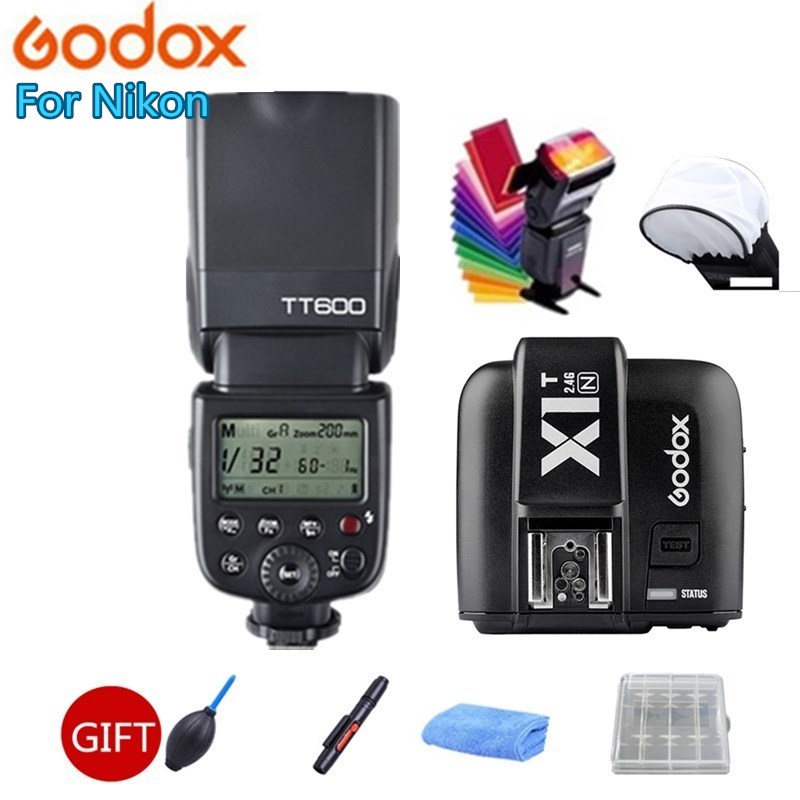Godox TT600 2.4G Wireless Master Slave Camera Flash Speedlite , X1T-N TTL HSS Wireless Flash Trigger For Nikon Camera