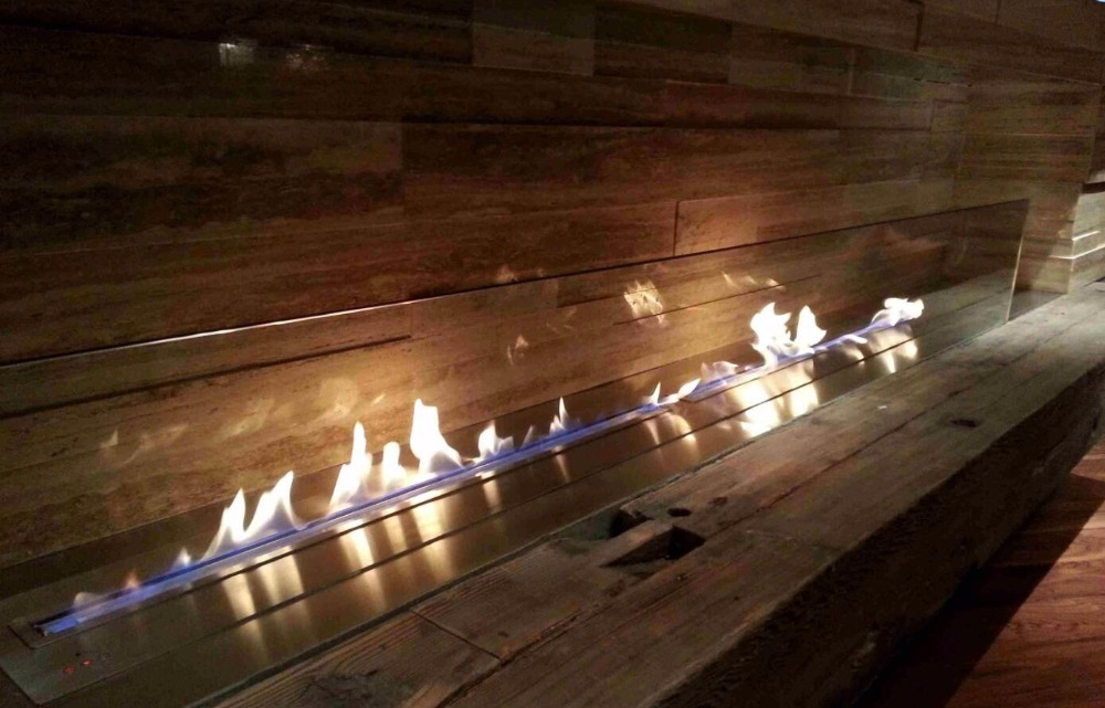 On Sale  48 Inch Smart Control Stainless/black Ethanol Fireplace Insert