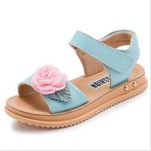 38014645e7496 2018 été nouveaux enfants de cuir véritable sandales filles fleurs sandale  Princesse chaussures(China)