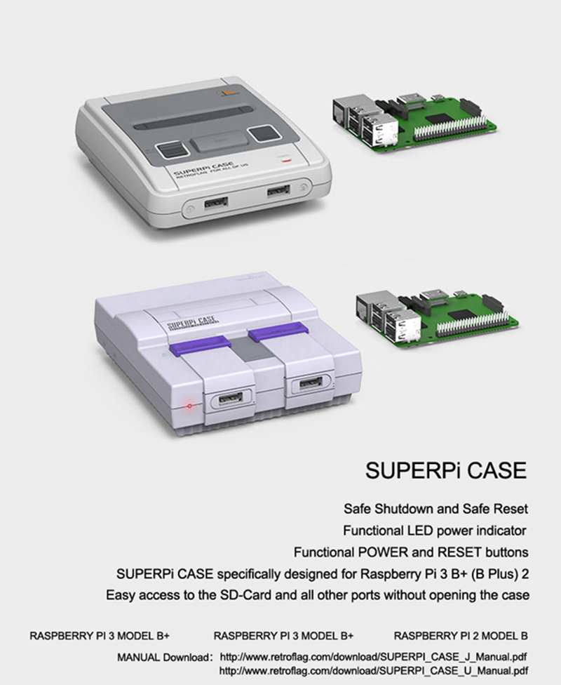 Retroflag SUPERPi J/U Case Deluxe Retro Video Games Console Wired USB  Controller Compatible for RASPBERRY PI 2/PI 3 B/B+ SFCSNES