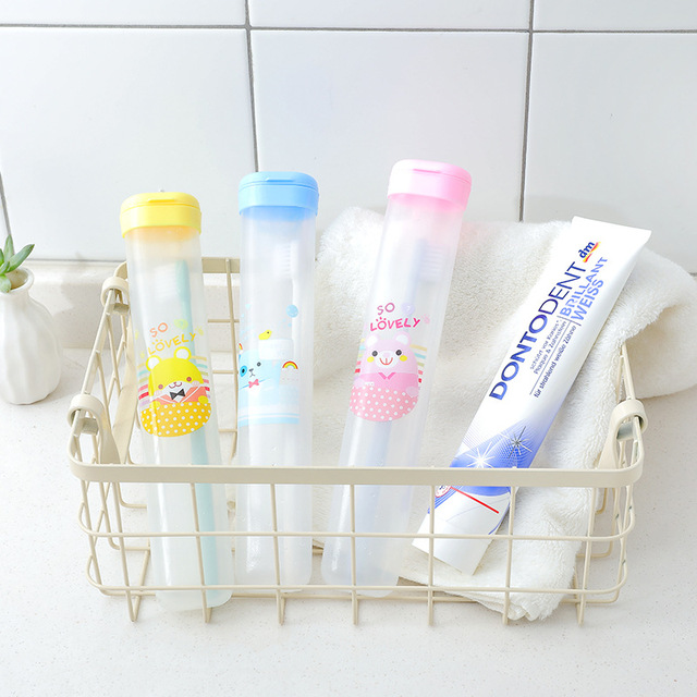 1PCS New Cartoon Bear baby Portable Empty Toothbrush Holder Travelling Anti-dust Toothbrus Storage Box Accessories For Bathroom 1