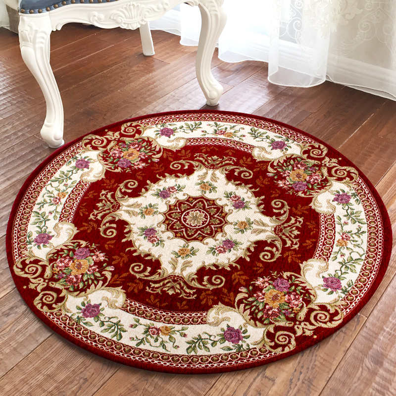 High european round carpet design tessel edge cotton area rug for bedside living room tapetes para casa sala tapis salon ...