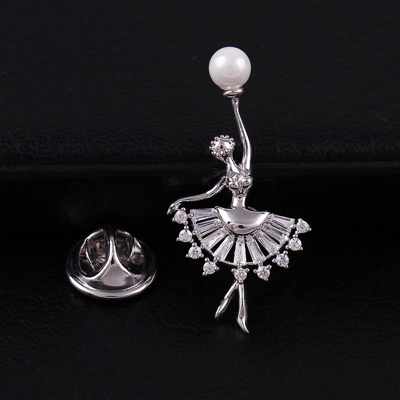 Young Tulip Elegant Dancing Girl Zircon Brooches for Women High Grade Pearl Collar Brooch Shirt Accessories Fashion Jewelry Gift