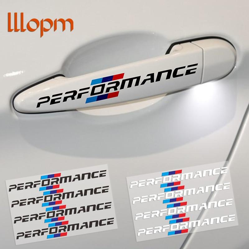 4PCS/LOT 2017 Car Styling Car Door Handle Car Stickers Performance Decoration For bmw f30 f34 f10 e46 e39 e60 e90 e70 e71 x5 x6