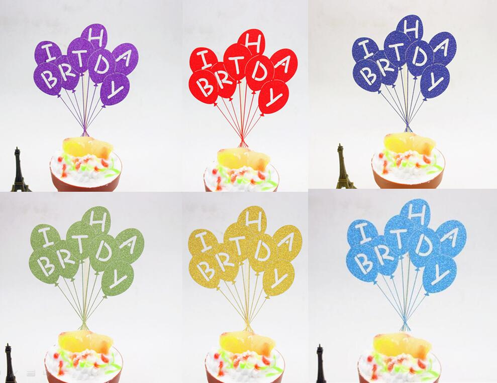1pc Multi Colors Happy Birthday Cake Flag Topper Balloon