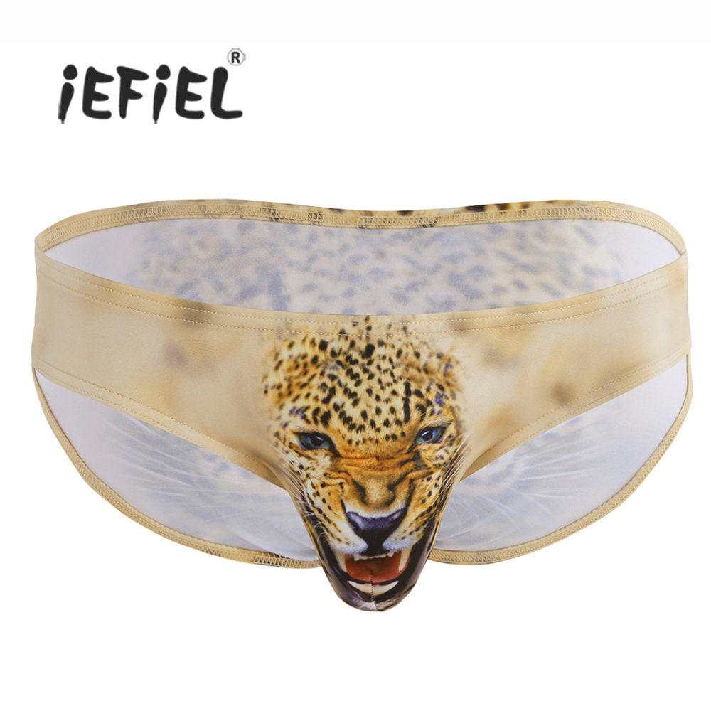 Buy iEFiEL Sexy Mens Lingerie Wolf/Leopard Animal Printing Bulge Pouch Bikini Briefs Underwear Underpants Jockstraps Panties