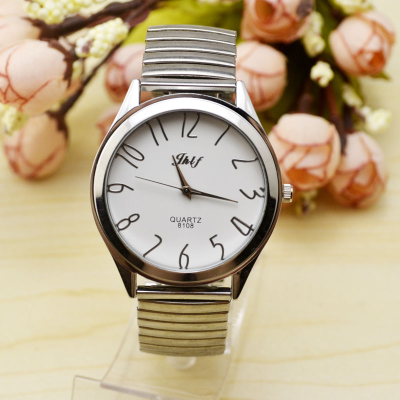 Life waterproof digital spring strap, elastic chain steel band, middle aged and elderly watches, women's money, men's and women