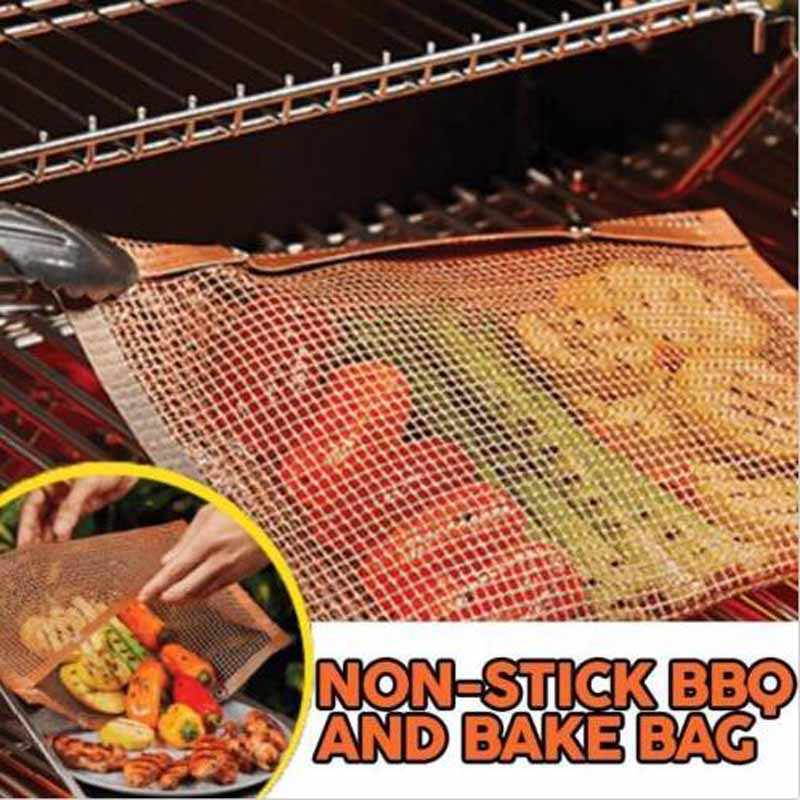 WINNING BBQ Grill Mesh Bag,2 pack Non-Stick BBQ Grill Mats,Reusable and Easy to Clean Non-Stick Mesh Grilling Bag with Silicone Brush for Barbecue Grilling /& Baking