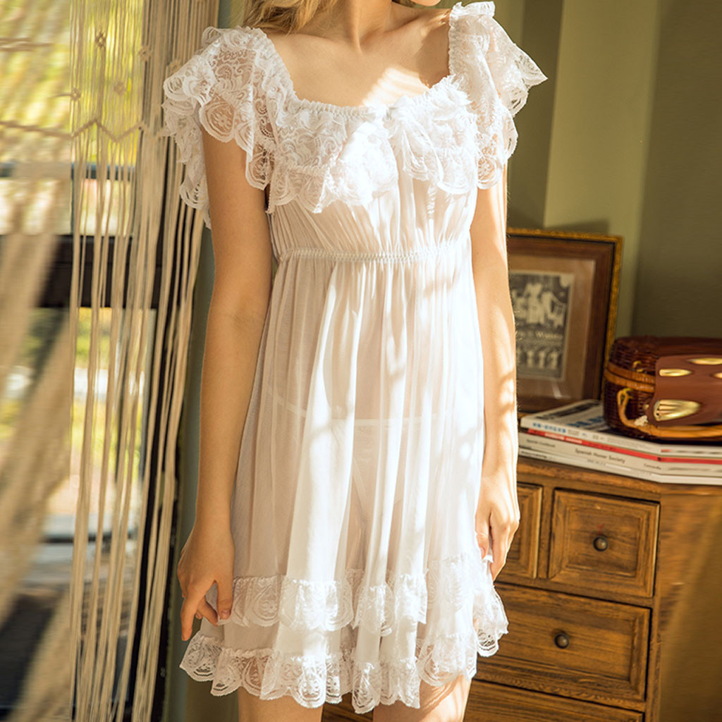 Women Sexy Lingerie Robe Long Lace Dress Super Soft Sheer Gown See Through Kimono Cover Up Comfortable Women Cross Sleepwear