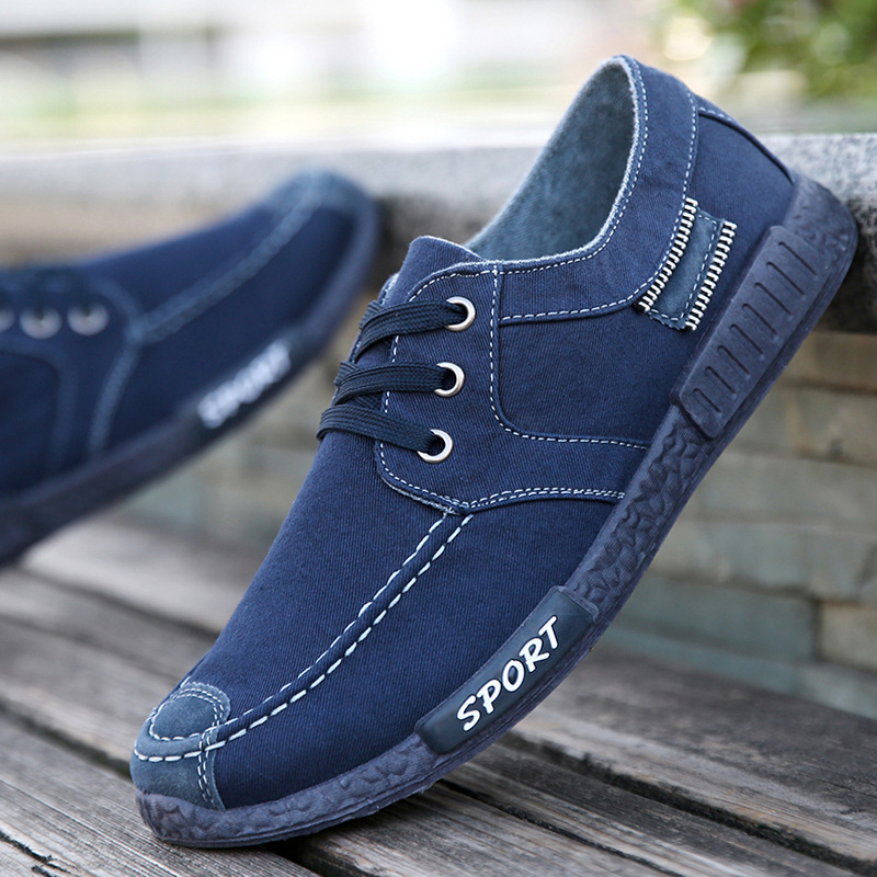 Fall 2019 New Fashion Men 39 s Canvas Washing Fabric Leisure Flat Bottom Blue lace up Anti skid Wear resistant Shoes discount in Men 39 s Casual Shoes from Shoes
