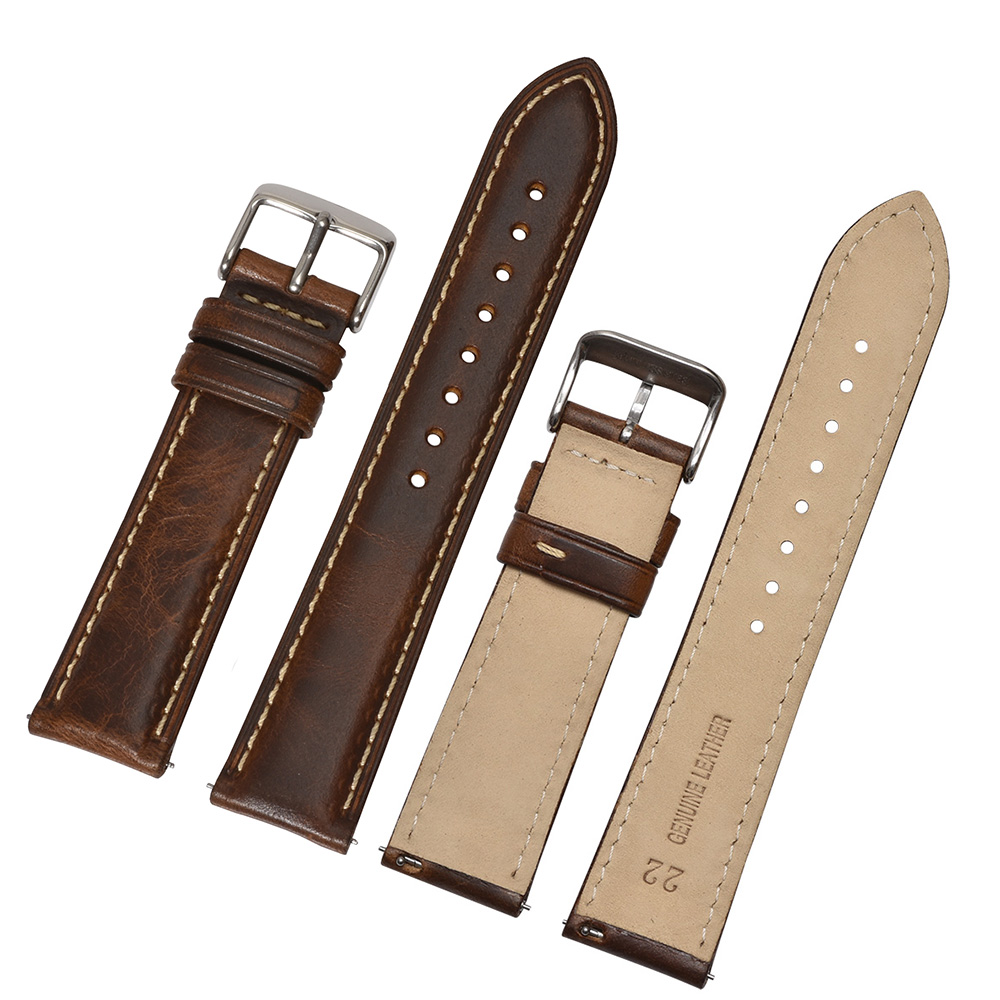 Image 2 - BEAFIRY Oil Tanned Leather 22mm 20mm 18mm Watchband Quick Release Watch Band Strap Brown for Men Women compatible with Fossil-in Watchbands from Watches