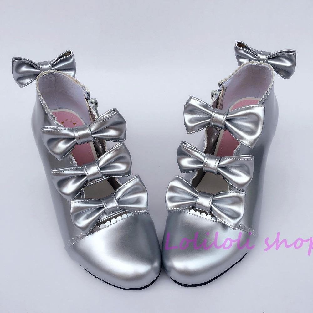 Здесь можно купить  Princess sweet lolita shoes Japanese design customized special shaped silver bow tie chunky heel shoes sandals 6642  Обувь