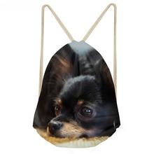 ThiKin Funny 3D Dog Papillon Print Women Drawstrings Bags Softback Multifunction Storage Backapacks Teenage Girl Travel