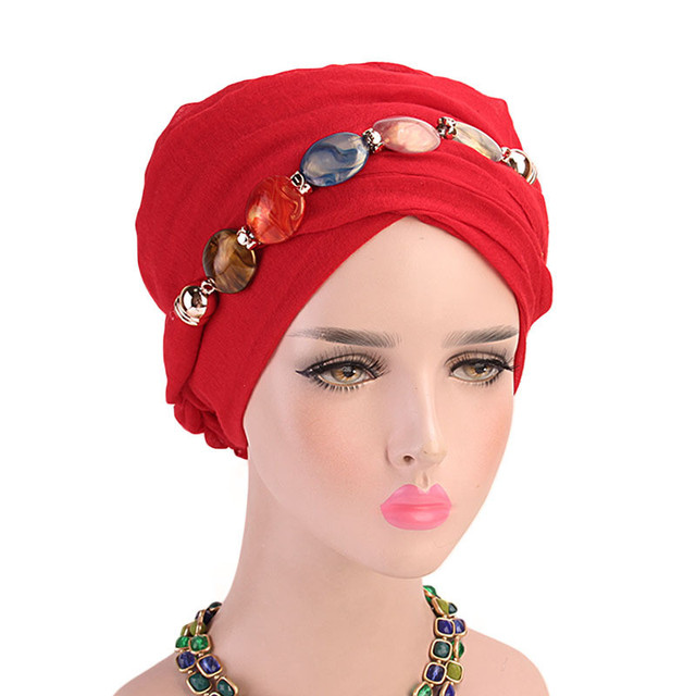2019 イスラム教徒ビーズストレッチターバンフリル髪帽子ビーニーバンダナスカーフ帽子女性のための 23