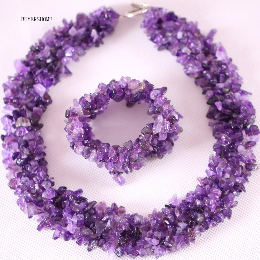 Free Shipping New without tags Jewelry Set Chip Beads Natural Stone Purple Crystal Necklace Bracelet E032 H041
