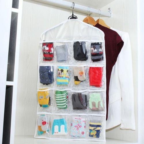 16 pockets clear over door hanging bag shoe rack hanger storage tidy organizer fashion home in. Black Bedroom Furniture Sets. Home Design Ideas