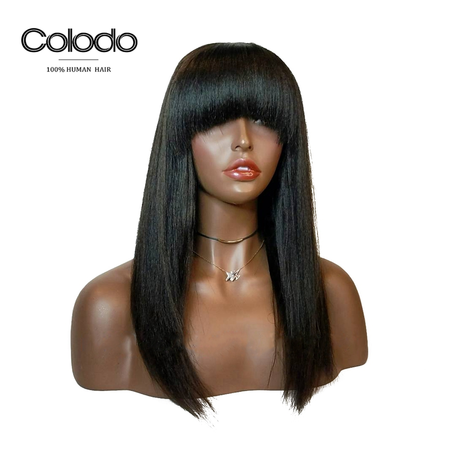 COLODO Yaki Straight Glueless Full Lace Wigs With Bangs Pre Plucked Baby Hair Remy Brazilian Human