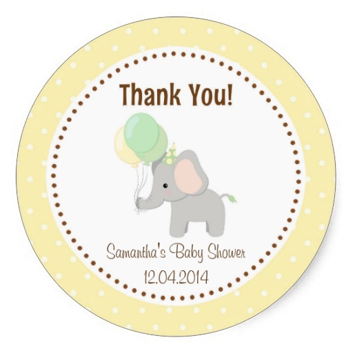 3 8cm Baby Elephant Baby Shower Sticker Yellow In Stickers From Home