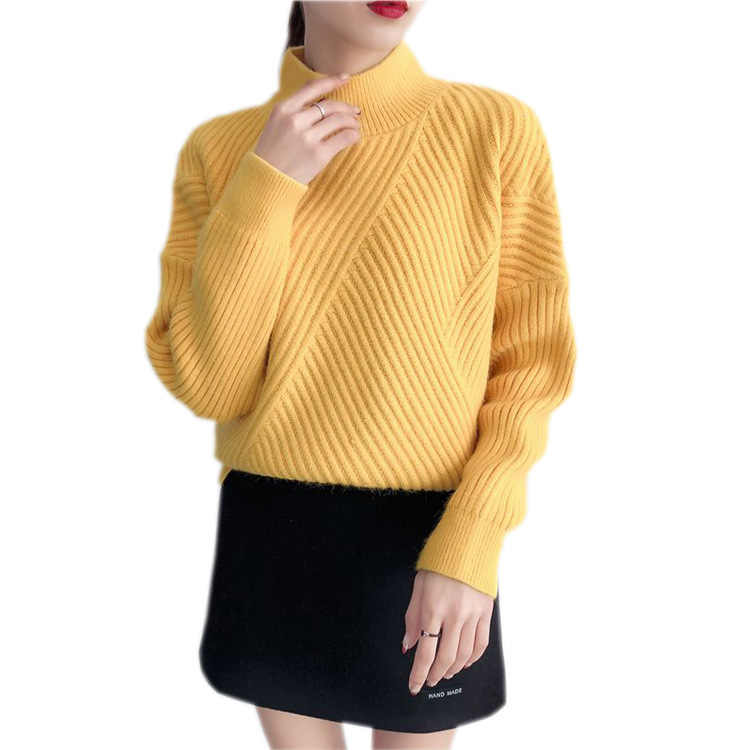 2019 novo quente grosso manga comprida solta camisola de malha casual sólido camisola de jumper
