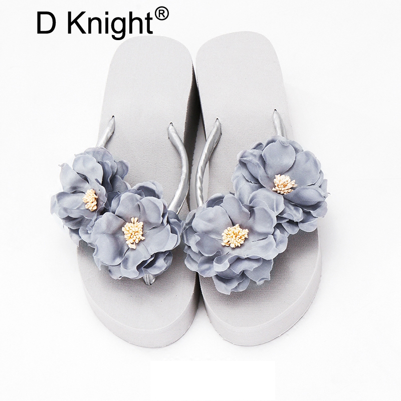 Women Slippers Summer Gladiator Sandals Fashion Beach Flip Flops Flower High Heels Platform Shoes Woman Wedges Casual Women Shoe