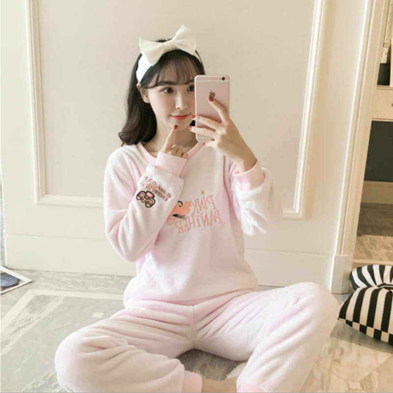 MJ085A Plus Size 5XL Flannel Night Suit Pink   Pajama     Set   Pijama Mujer Pyjamas Women Pizama Damska Femme Pigiama Donna Nightwear