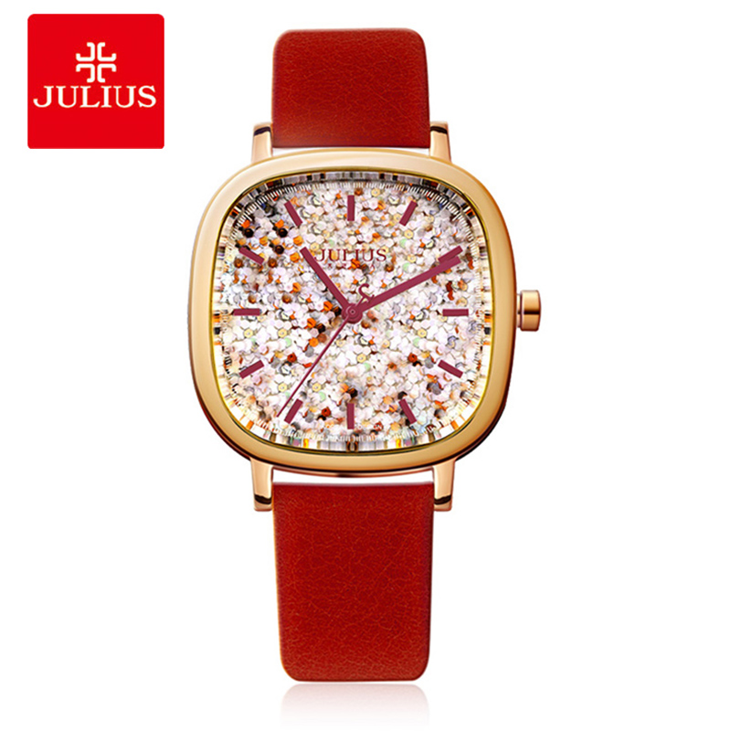 JULIUS Luxury Brand Women Quartz Watches Fashion square Leather strap Ladies Bracelet Wrist Watch Student Girl Birthday Gift Box polygon glass design analog wrist watch women fashion exquisite elegant quartz watches unique ladies leather strap girl gift