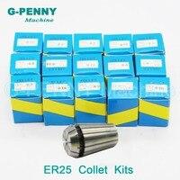 Motor spindle collet chuck ER25 16 pcs tamanho pinças de 1mm a 16mm conjunto completo para fresagem CNC ferramenta torno motor spindle collet