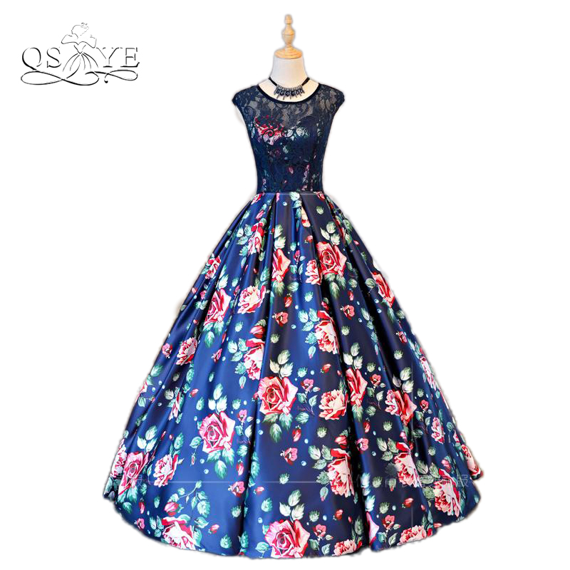 2018 New Arrival 3D Floral Print Long Prom Dresses Robe de Soiree Sexy Backless Floor length Satin Formal Evening Party Gown