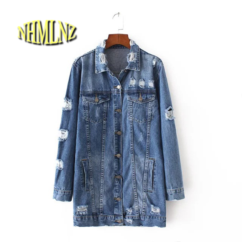 2017 Spring Women <font><b>Jean</b></font> Jacket Blue Loose Full Sleeve Turn-Down Collar Single Breasted Jacket With Botton Pockets Hole New A45