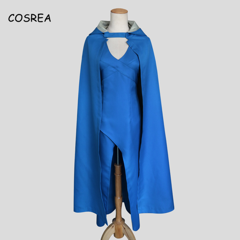 Game of Thrones Cosplay Daenerys Targaryen Dress Cosplay Party Long Blue Dress Halloween Costumes for Women