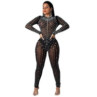 jumpsuits for women 2019 new arrival fashion Beading black Hot drilling + pearl bodysuit women Nightclub boutique jumpsuit