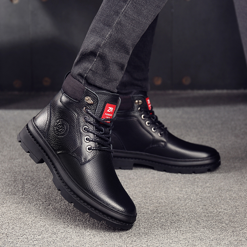 OSCO Genuine Leather Men Waterproof Boots Men Casual Shoes Fashion Ankle Boots For Men High Top