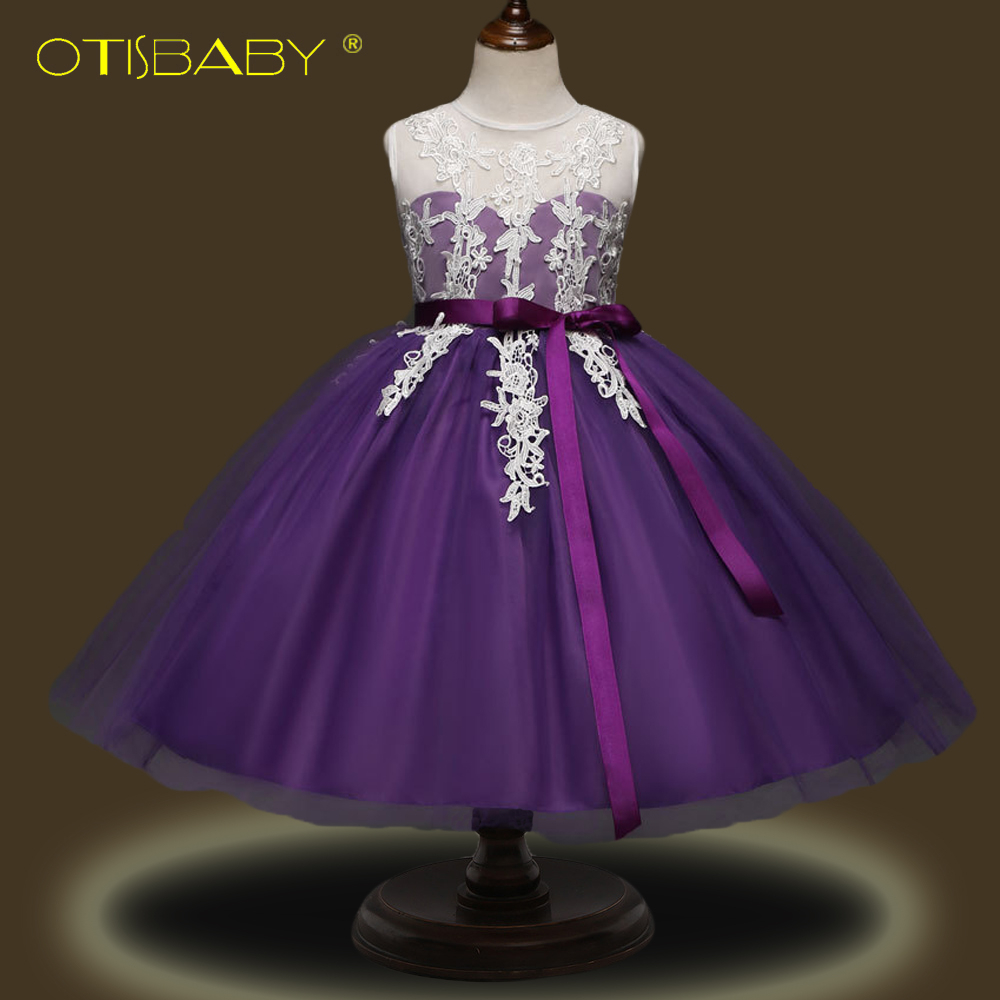 Фото High Quality Girl Sleeveless Lace Floral Embroidered Fabric Tulle Shiny Dress for Pageant Girls Princess Flower Tutu Dresses Hot