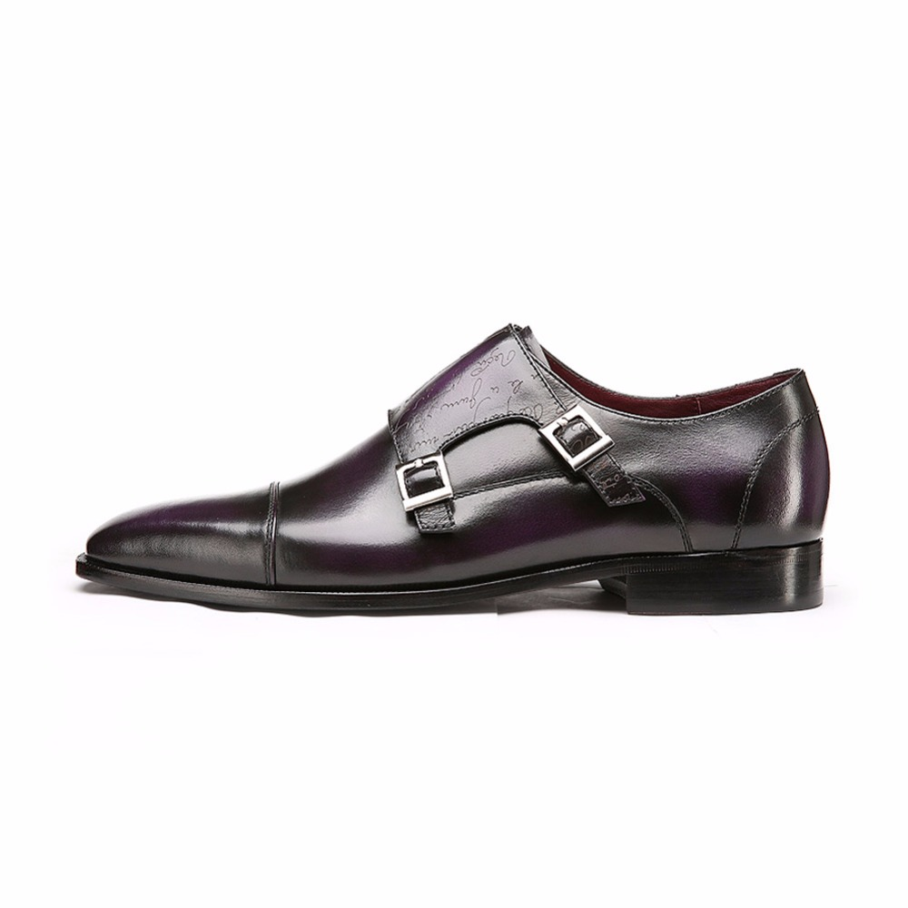 TERSE_Goodyear welted men dress shoes handmade real leather luxury customize service wedding shoes in purple burgundy OEM ODM
