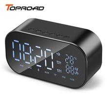TOPROAD 휴대용 블루투스 스피커 지원 온도 LCD 디스플레이 FM 라디오 알람 시계 무선 스테레오 서브 우퍼 음악 플레이어