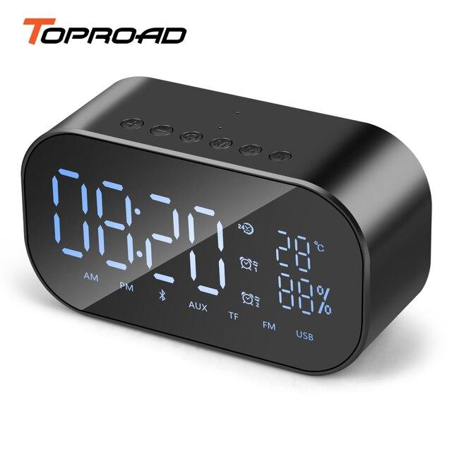 TOPROAD Tragbare Bluetooth Lautsprecher Unterstützung Temperatur LCD Display FM Radio Wecker Drahtlose Stereo Subwoofer Musik Player