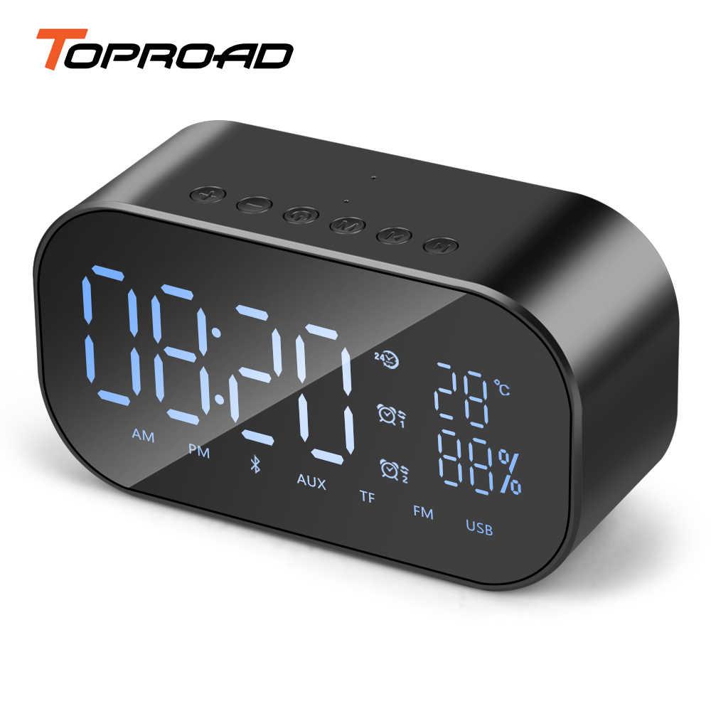 TOPROAD przenośny głośnik Bluetooth wsparcie temperatury wyświetlacz LCD FM Radio z budzikiem bezprzewodowy Subwoofer Stereo odtwarzacz muzyczny