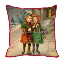 kids holding christmas tree printed Customize decorative square vintage cushion cover red christmas cushion covers
