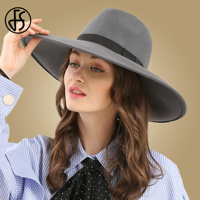 Image 2 - FS Elegant Big Black Hat Large Brim Fedoras Wool Felt Hat Women Bow Panama Cap Australian Ladies Trilby Hat Autumn Casual Mujere-in Women's Fedoras from Apparel Accessories