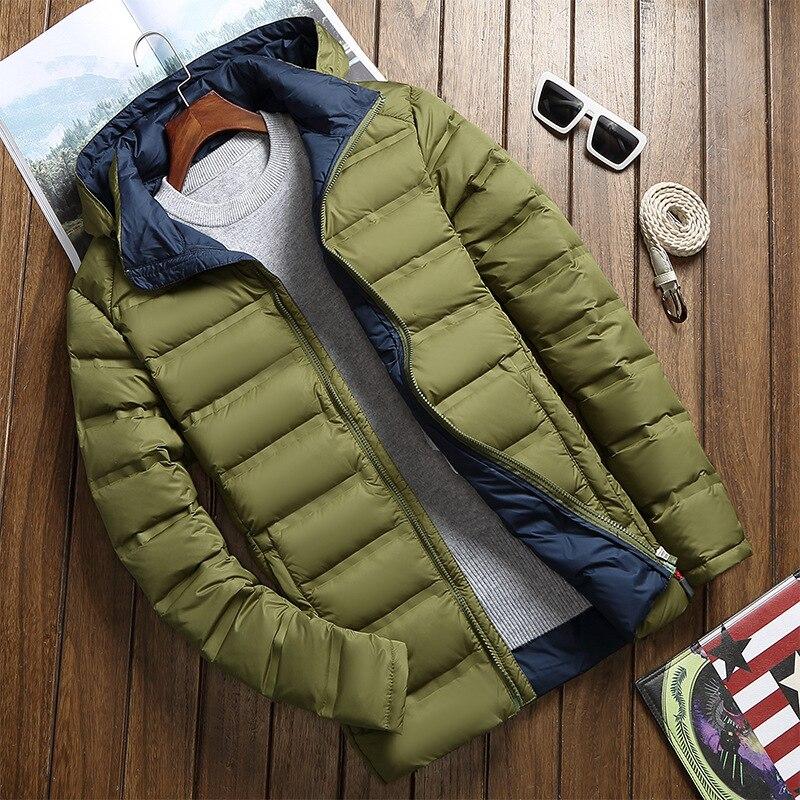 FLAVOR Men s Real Leather Down Jacket Hoodie Men Genuine Lambskin Winter Warm Leather White Duck