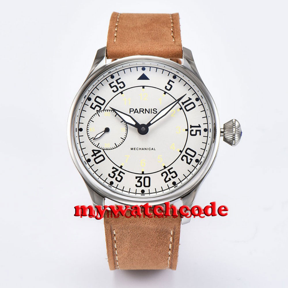 44mm parnis silver dial ST hand winding 6497 mechanical mens watch P679 цена и фото